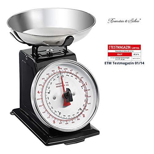 Rosenstein & Söhne Waage: Analoge Metall Retro-Küchenwaage bis 5 kg mit Tara-Funktion (Haushaltswaage)