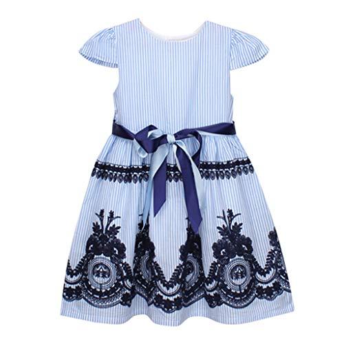 cinnamou Kleinkind-Mädchen-Streifen-Blumenstickerei-Partei-Prinzessin Dress Mädchen Kleid Mit...