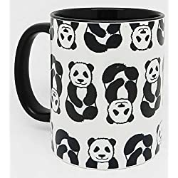 The Black and White Panda Mug with a black glazed handle and inner