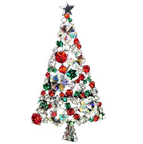 che Pin Weihnachtsbaum geformte Rhinestone Frau Festliche Brosche Corsage Schmuck Dekoration Kleidung Schal Ideal für Weihnachten Tag ()