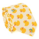 Cravate - Noeud Papillon - Pochette Costume Canard Jaune - Fantaisie - Originale - Déguisement (Cravate slim)