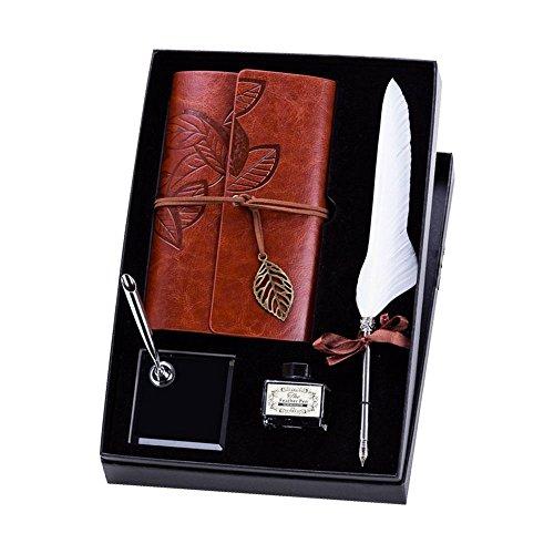 DokFin Federschreiber-Set, natürliches handgefertigtes Kiel Stift und Tinte, Feder-Dip Pen Tinte, Notizbuch-Set, Schreibwaren-Geschenk-Box weiß -