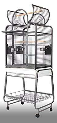 Wundapets Open Top Antique Black Parrot Cage With Stand On Castors 1916 Conure from BLUE RIBBON