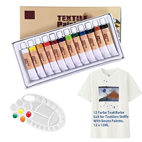 (Textilfarbe Stofffarbe mit Palette, Professionelle Batik Farbe Ungiftig Textil Farben Farbstoff für Kleidung, Textilmarker Stoff Farbe, Leinwand, Textilien Stoffe, Acryl Farbe Set von Maigcdo(12x12ml))