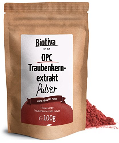 OPC Traubenkernextrakt Pulver (100g) - 95{19983bd57ffd3a787d3948789c572dbcd68acdeaf4660e007f3e3c202ae4eef9} OPC - hochdosierte Premium Qualität - ohne Zusatzstoffe - aus reifen, roten Weintrauben - schonend getrocknet - kontrolliert und abgefüllt in Deutschland