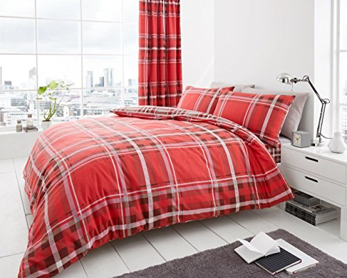 LONDON.BEDDING @ NEWTON TARTAN CHECK POLYCOTTON DUVET QUILT COVER SET WITH PILLOW CASES ALL SIZE (Super King, RED)