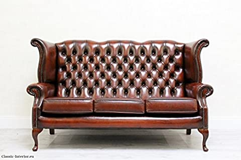 Chesterfield Chippendale Sofa Leder Antik Vintage Barock