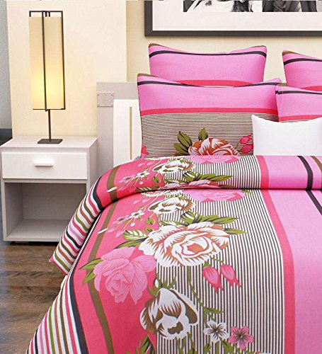 Home-Candy-144-TC-100-Cotton-Pink-Stripes-and-Flowers-Double-Bed-Sheet-with-2-Pillow-Covers