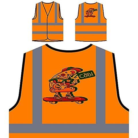 Neues Pizzaschlitten-Skateboard Personalisierte High Visibility Orange Sicherheitsjacke Weste