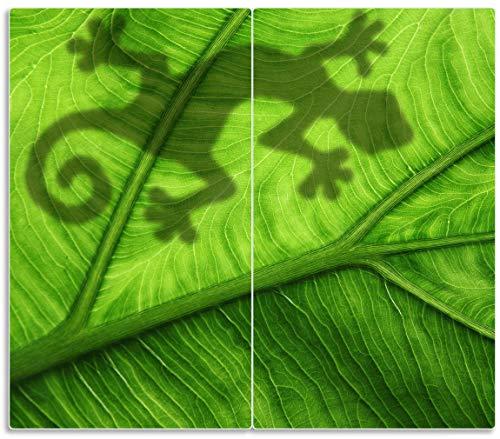 Herdabdeckplatte / Spritzschutz aus Glas, 2-teilig, 60x52cm, für Ceran- und Induktionsherde, Gecko Schatten auf grünem Blatt - Umriss