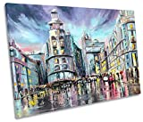 Canvas Geeks Gran Via Madrid Cityscape - Lienzo Decorativo para Pared, diseño de Paisaje Urbano,...