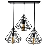 Homesake 3-lights Linear Cluster Chandelier Black Diamond Hanging Pendant Light, Kitchen Area and Dining Room Light