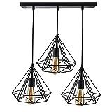 #6: Homesake 3-lights Linear Cluster Chandelier Black Diamond Hanging Pendant Light, Kitchen Area and Dining Room Light