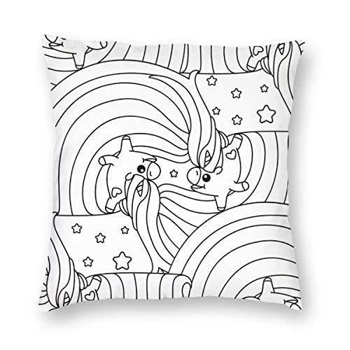 Mesllings Baumwollleinen-Überwurf-Kissenbezüge, Einhorn-Färbung, niedlich, lustig, Kissenbezüge, dekorativ, 45,7 x 45,7 cm, Kissenbezug mit Reißverschluss