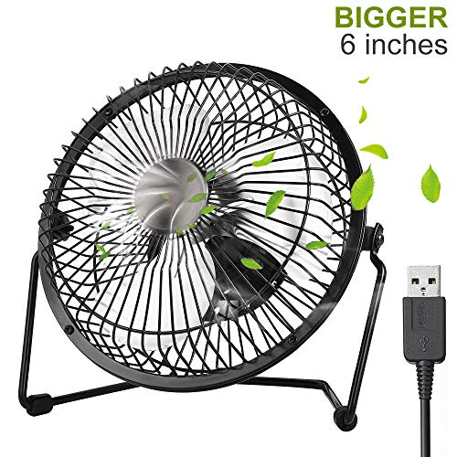 Mini USB Ventilator, iVoler 6 Zoll Aluminium Mini Tischventilator / Fan 360° Drehung Neigbar USB Ventilator Tragbarer Metall-Lüfter für PC MAC Notebook, Büro zu Hause Schule - Schwarz -