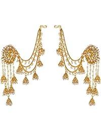Sanjog Premium 18k Gold Plated LCT Color Polki & Pearl Bahubali Jhumki/Jhumka Earrings For Girls And Women