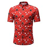 Sommer Hemd Herren Shirt Slim Kurzarm-Shirt Retro Kreativer Druck Aufdruck Oberteile Hemdbluse,Hevoiok Mode Männer Casual Tees Shirt Tops M-3XL (Rot, L)