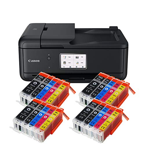 Canon Pixma TR8550 TR-8550 Farbtintenstrahl-Multifunktionsgerät (Drucker, Scanner, Kopierer, Fax, USB, WLAN, LAN, Apple AirPrint) Schwarz + 20er Set IC-Office XXL Tintenpatronen 580XXL 581XXL