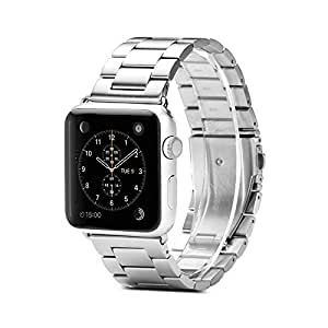 Apple Watch Band Strap, GMYLE 316L Stainless Steel Link Bracelet Wrist Armband with Double Button Folding Clasp for Apple Watch 38mm - Triple Link Silver