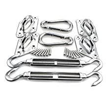 HONGCI Heavy Duty Sun Shade Sail Fixing Kit for Garden Triangle and Square, Rectangle - 304 Stainless Steel Sun Shade Sail Fixing Hardware Accessories Kit (Fixing Kit a - 2x4x2)