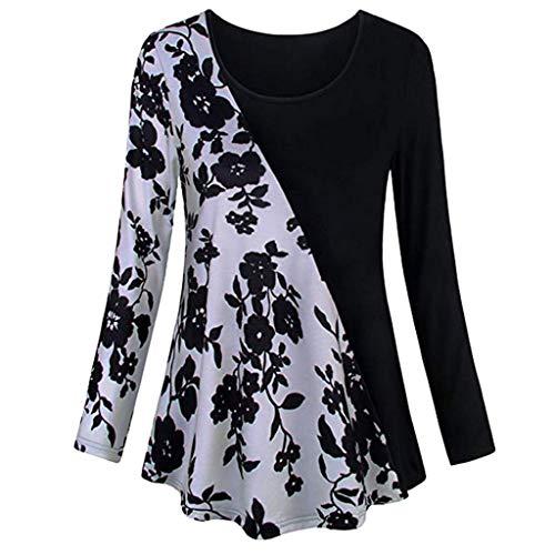 VEMOW Sommer Herbst Elegant Damen Oberteil Langarm O Neck Printed Flared Floral Beiläufig Täglich Geschäft Trainieren Tops Tunika T-Shirt Bluse Pulli(Y2-Weiß, EU-42/CN-L)