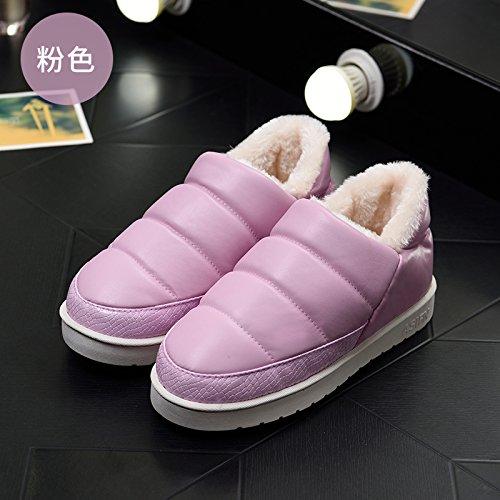 DogHaccd pantofole,Inverno impermeabile in pelle pu uomini e donne matura il cotone Snow Boots corto e fitto studenti caldo cotone piatto scarpe scarpe donna La Rosa sul bianco.2