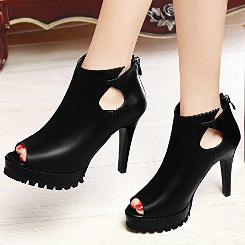 GTVERNH-primavera nera 7.5cm solo scarpe donna summer bocca di pesce scarpe tacco alto impermeabilizzare i sandali tacco sottile parte vuota moda scarpe da donna,trentaquattro Thirty-six