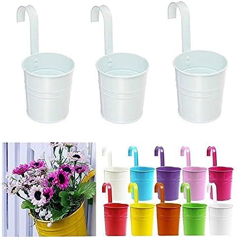 Aoxintech metallo, vasi per fiori da balcone da appendere vasi per piante da giardino da parete in metallo-Vasi a sospensione, decorazione floreale, confezione da 3, Bianco,