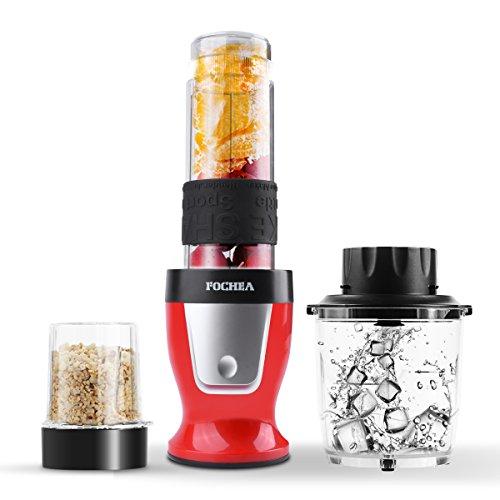 mini mixeur blender smoothies Fochea 300W 3 en 1 batteur de cuisine hachoir moulin robot multifonction pour milk-shake glace viande café épice bouteille portable de 570mL sans BPA avec couvercle pour sport et voyage, rouge