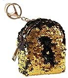 Caripe Geldbörse Klein Damen Glitzer Wende Pailletten Reißverschluss Münzbörse Portemonnaie Schlüsselanhänger Kinder - glamu1 (gold-schwarz)