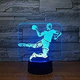 KangYD Veilleuse Handball 3D, Lampe LED, Lampe Colorée, De La Chambre À Coucher, Télécommande 7 Couleur (Blanc Crack), Cadeau D'Anniversaire, Cadeau De Fête