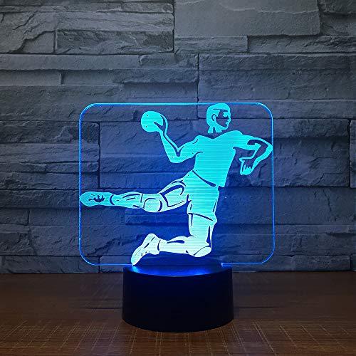 KangYD Handball 3D Nachtlicht, LED Lampe, Bunte, Schlafzimmer Lampe, Wecker Base 7 Farbe, Glücksgeschenk, Glücksgeschenk