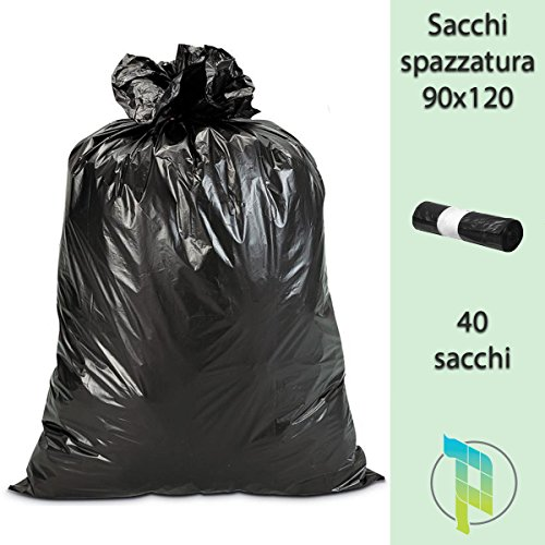 Palucart Sacchi Neri Spazzatura Grandi e Resistenti cm 90x120 120 litri 40 pezzi