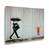 Giallo Bus 1248 Quadro Stampa Su Tela Canvas, Banksy, Pioggia Colori, 100 x 140 cm