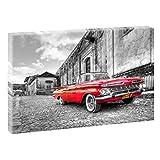 Chevrolet   V1710015   Bilder auf Leinwand   Wandbild im XXL Format   Kunstdruck in 120 cm x 80 cm   Bild Chevrolet USA Oldtimer (Schwarz-Weiß/Rot)