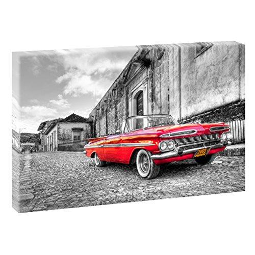 Querfarben Chevrolet | V1710015 | Bilder auf Leinwand | Wandbild im XXL Format | Kunstdruck in 120 cm x 80 cm | Bild Chevrolet USA Oldtimer (Schwarz-Weiß/Rot)