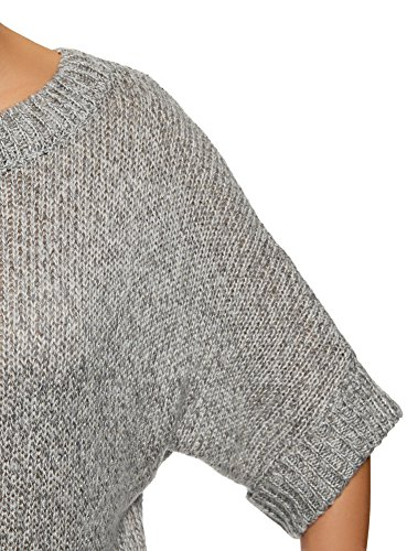 oodji Ultra Damen Melange-Pullover mit Fledermausärmeln Grau (1223X)