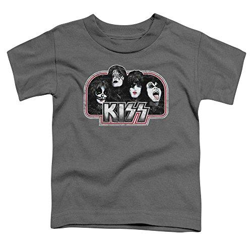 Kiss - Kleinkinder-Rückschritt-T-Shirt Charcoal