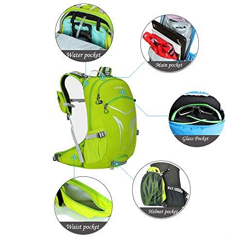 Licht Fahrradrucksack 20 L Wasserdicht Rücksack mit Regenschutz , Abnehmbare Tasche für Handy, Atmungsaktives Rückensystem Grün