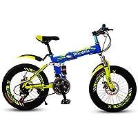 LETFF Bicicleta Plegable para niños 20 Pulgadas Hombres y Mujeres niños Cochecito de Bicicleta de montaña