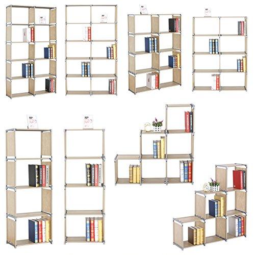 WOLTU RGB9267nt-c Lagerregal Standregal Aufbewahrungregal Regale für Bücher, 3 Ebenen mehr Raum Bücherregal,Natur Farbe, ca.49.5x30x142cm
