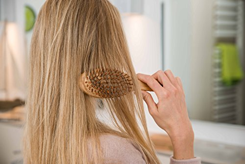 pandoo Bambus Haarbürste mit Naturborsten - Vegan, umweltfreundlich - Natur-Bürste mit Bambusborsten für natürlich schöne Haare für Männer, Frauen & Kinder - Detangler - 5