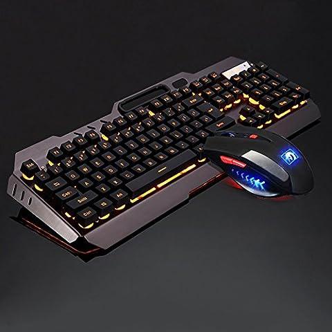 Gaming Tastatur und Maus Set, MFTEK USB verdrahtete hinterleuchtete Tastatur und Maus Combo orange Hintergrundbeleuchtung mit Handy Standhalter und Mauspad (QWERTY,