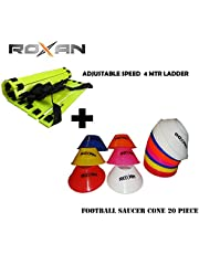 Foxsus Adjustable Speed Ladder 4 Meter with 10 rungs/Football practices Running Speed Agility Ladder/Football Saucer Cone Multi Color Set of 30/ Marker Cone Multi Color