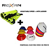 Roxan Adjustable Speed Ladder 4 Meter With 10 Rungs/Football Practices Running Speed Agility Ladder/Football Saucer Cone Multi Color Set Of 30/Marker Cone Multi Color