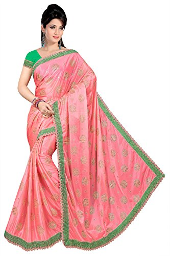 Onlinehub Georgette Saree With Blouse Piece(Onlinhubpinkbuttafoil(S)_Pink Free Size)