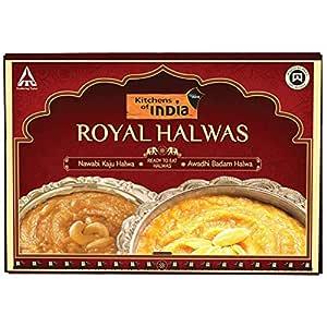 Kitchens of India Ready to Eat Royal Halwa Combo - Nawabi Kaju Halwa and Awadhi Badam Halwa, 400 g