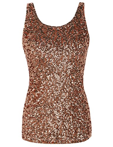 PrettyGuide Damen Shimmer Glam Pailletten verziert Sparkle Trägershirt-Weste Tops Rosé Gold L (Rose Cami)