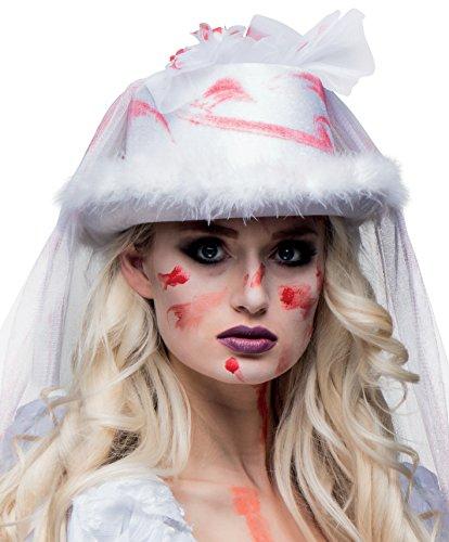 Boland 00805 cappello sposa insanguinata horror con velo, bianco, taglia unica