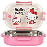 WonderKart Kids Beautiful Print Insulated Plastic and Stainless Steel Lunch Box -(WKLB-005, Pink)